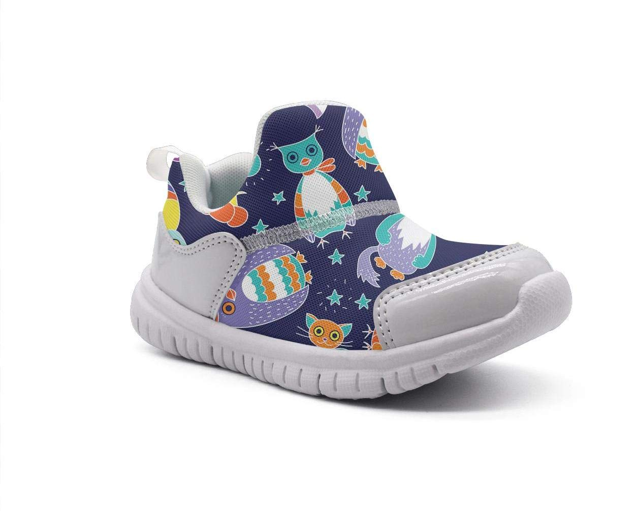 ONEYUAN Children Blue nitht Owls and Cats Kid Casual Lightweight Sport Shoes Sneakers Walking Athletic Shoes