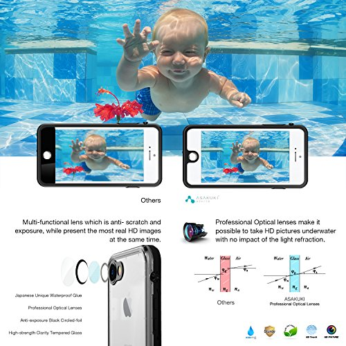 iPhone 7 8 Case - IP68 Waterproof iPhone 7 8 Accessories by ASAKUKI, Full Body Case with Screen Protector Shockproof Scratchproof Dustproof for iPhone 7 8
