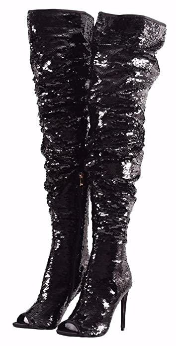 Women s Fashion Peep Toe Sparkle Sequins Thigh High Over Knee Pupms Heel  Christmas Party Dance Boots 340cbf28c74d