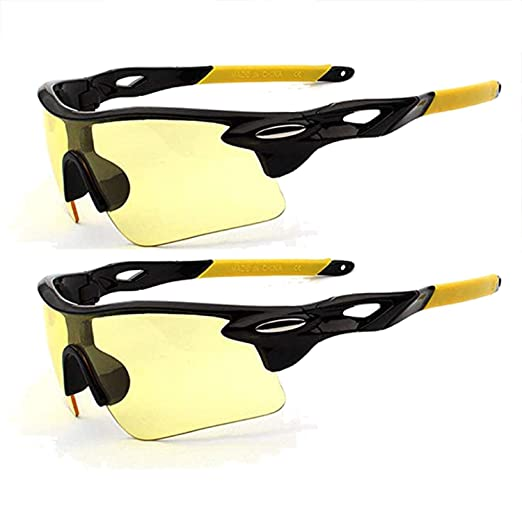 2dcc1a2832a Polarized Sports Sunglasses Glare UV400 Protection HD Night Vision for  Motorcycle Riding Glasses (2 PACK
