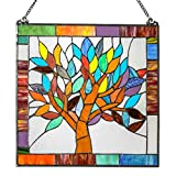18'' H Tiffany Style Stained Glass Mystical World Tree Window Panel