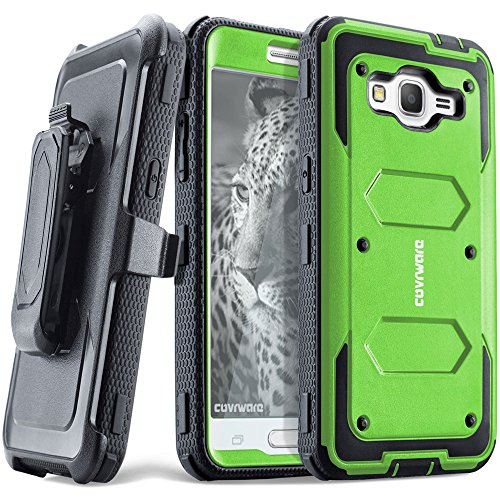 COVRWARE Samsung Galaxy Grand Prime/Go Prime Case - [Aegis Series] Heavy Duty Full-Body with Built-in [ Screen Protector ] Rugged Holster Armor Case & Belt Swivel Clip [Kickstand] - Green