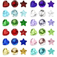 144PCS 5mm Crystal Heart Star Round 12 Months Birthstones Charms for Floating Bracelets Living Memory Lockets DIY Pendant Necklace Jewelry Accessories Craft Projects