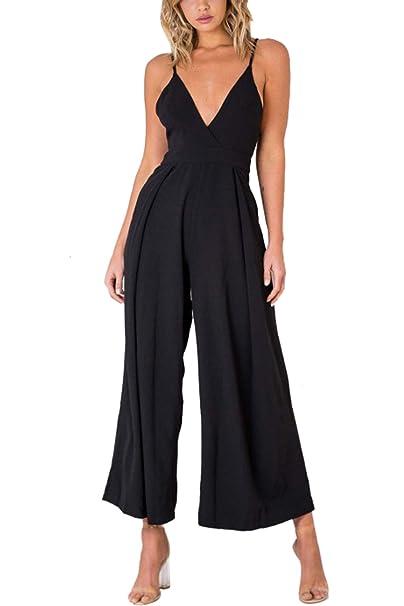 84d74854c03c Sevozimda Women Rompers V Neck Knotted Sleeveless Boot Cut Pants Summer Jumpsuits  Black S