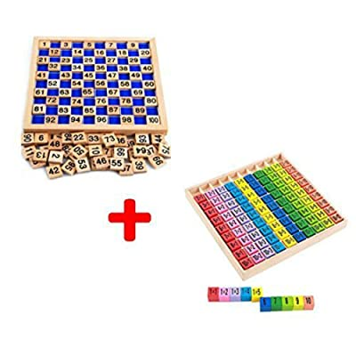 Montessori Wooden Mathematics 1-100 Digital Cognitive Teaching Aids 1010 Multiplication Table Children Math Educational Toy: Clothing