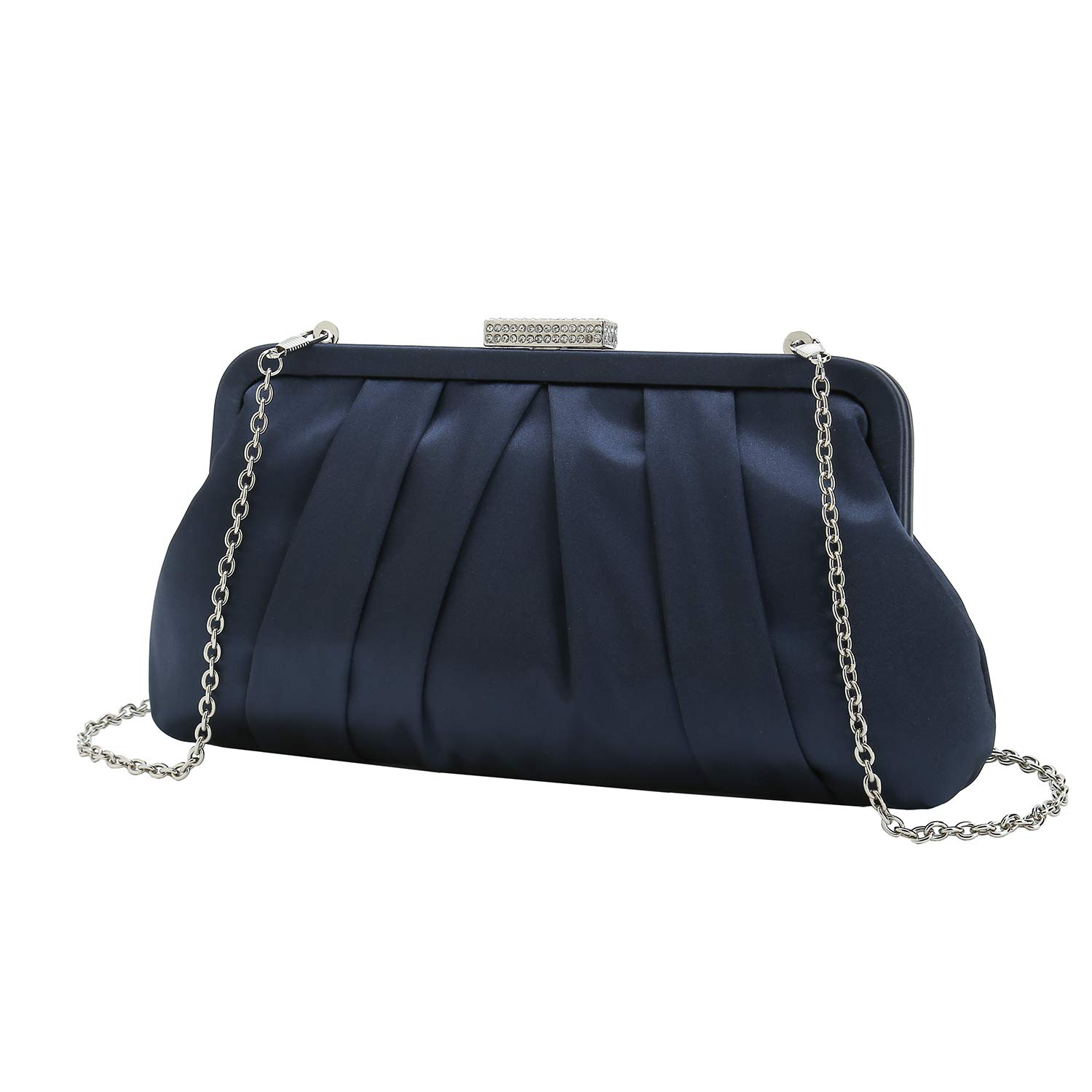 Charming Tailor Classic Pleated Satin Clutch Bag Diamante Embellished Formal Handbag for Wedding/Prom/Black-Tie Events (Navy)