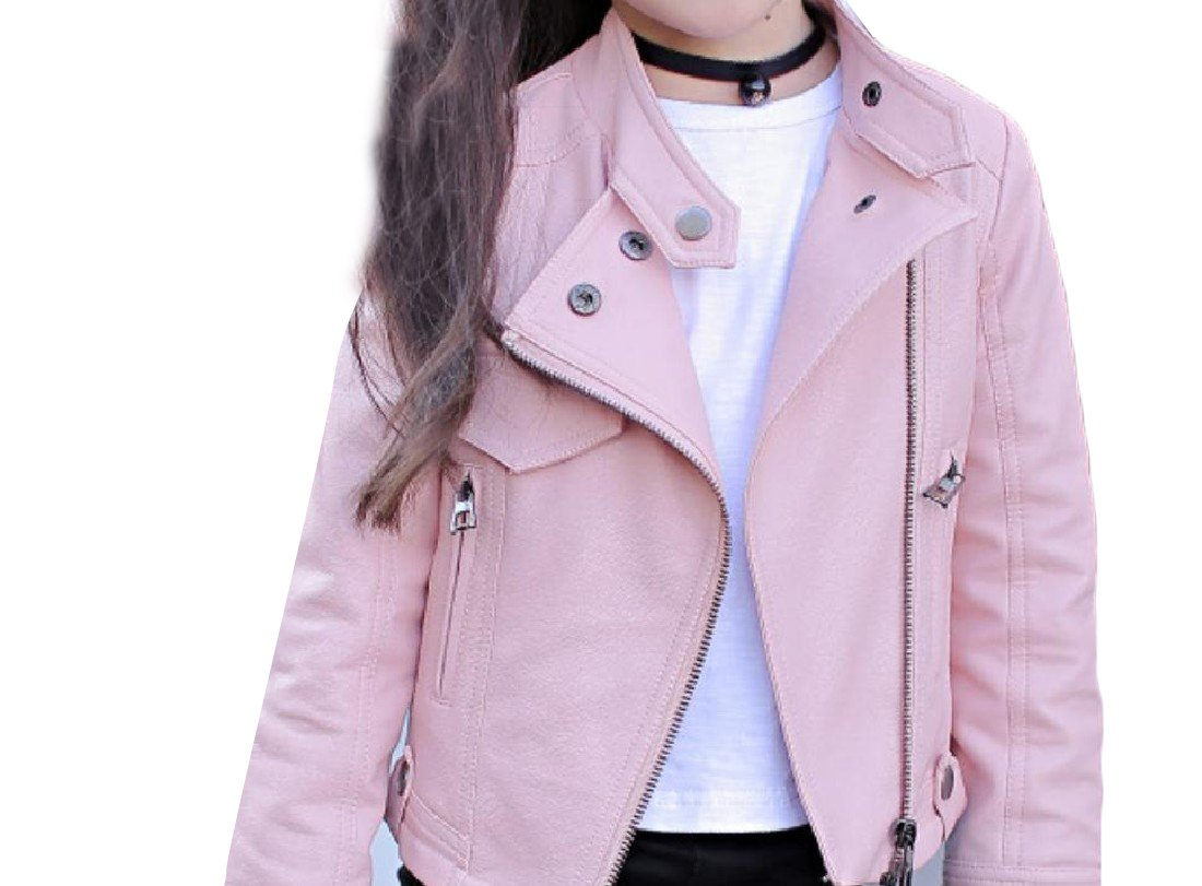 Abetteric Kids Leather Lapel Zip Pure Color Short Vogue Girls PU Outwear Pink 130cm