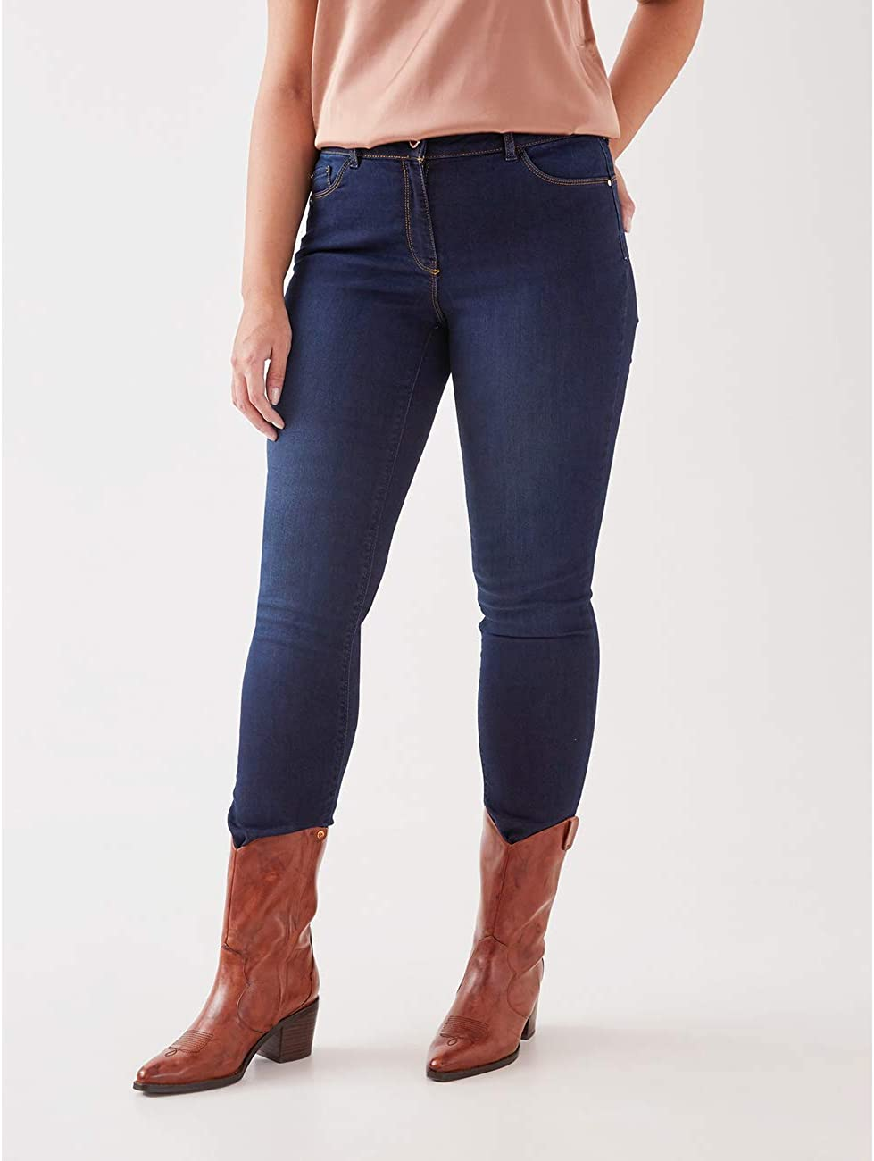 Italian Plus Size Fiorella Rubino Jeans Skinny Dark Blu Washed