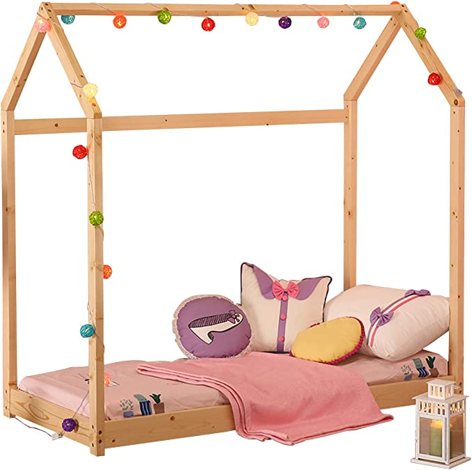 Nursery Furniture Twin Size Wood Bed House Bed Frame with Fence Floor Bed Cabin Bed Gray Kids Tent Bed Play Tent