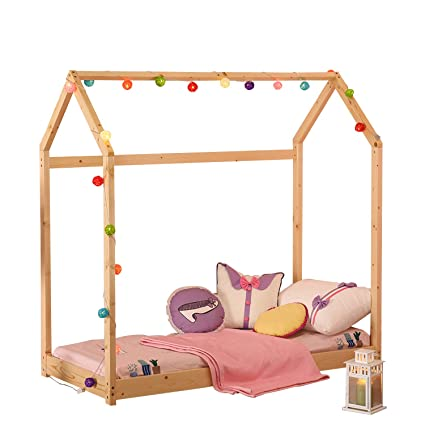 Amazon.com: WALCUT House Children Bed Frame Toddler Bed Premium Wood ...