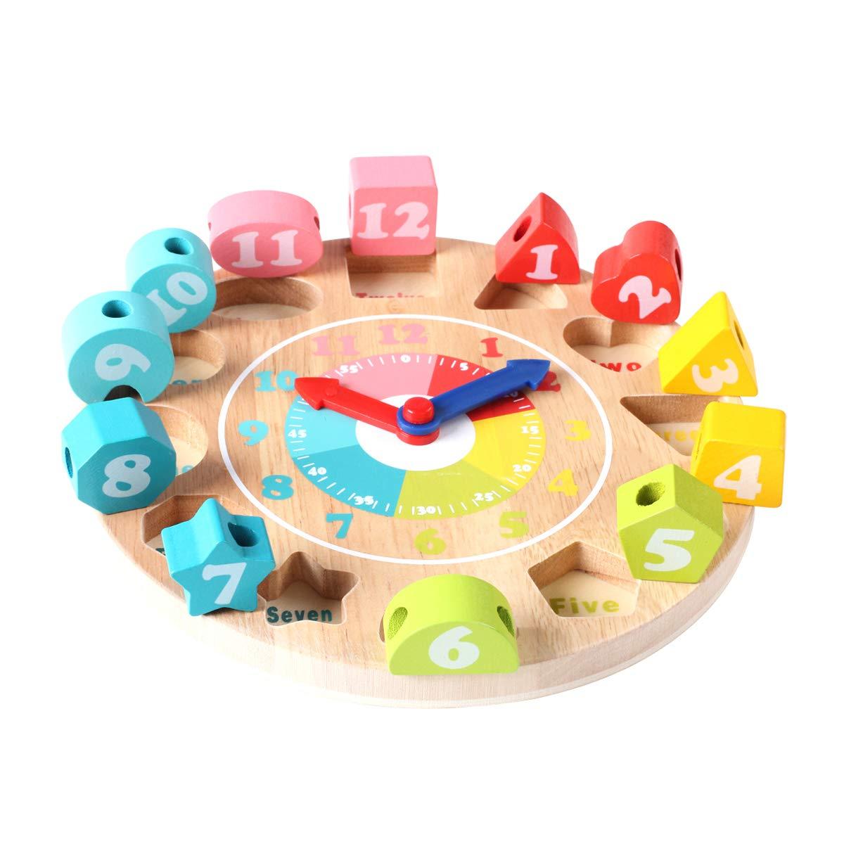 GEMEM Toddler Clock Toy Wooden Shape Sorting Teaching Time ...
