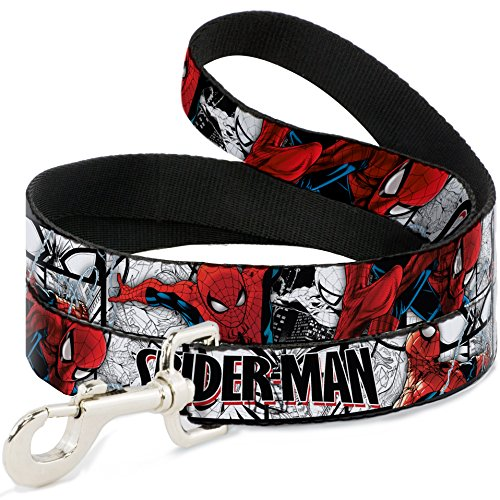 Buckle-Down Pet Leash - SPIDER-MAN Action Poses/Comic Scenes White/Black/Red - 4 Feet Long - 1/2