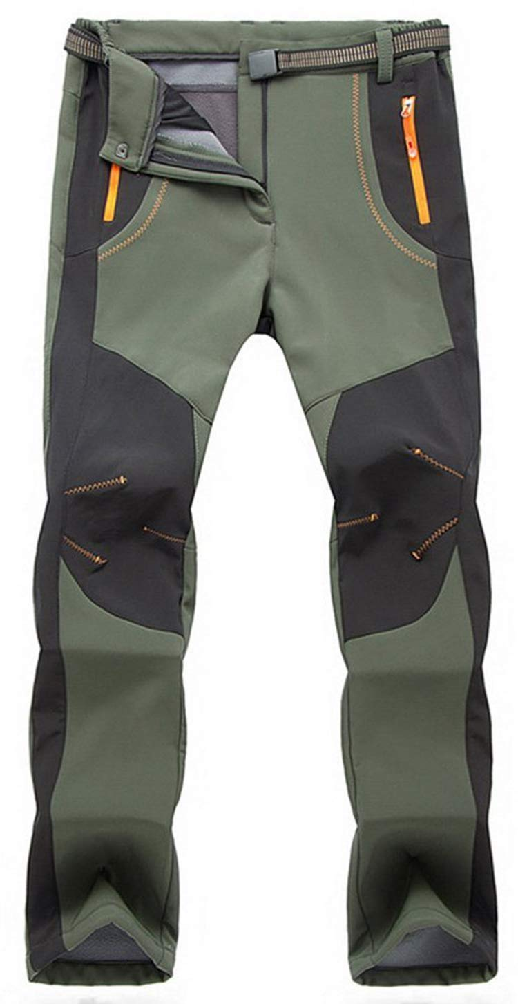 YSENTO Men's Waterproof Windproof Fleece Lined Trousers With Zipper Pockets Outdoor Walking Climbing Skiing Pants