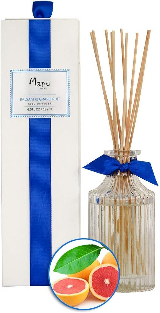 Manu Home Balsam & Grapefruit Reed Diffuser Oil Set - 6.5 oz + Natural Reed Diffuser Sticks   Aromatherapy Oils   Subtle Notes of Woody Cedar and Vanilla   Made in USA