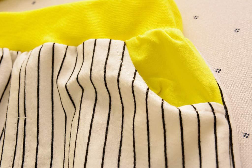 Cute Baby Boys Summer Pajamas Set | Toddler Boys Cartoon Vest Blue Tees Stripe Shorts Sets(Yellow,110) by Wesracia (Image #7)