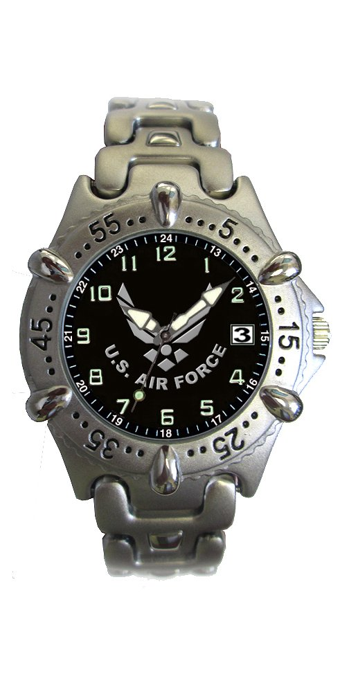 Aqua Force Air Force Frontier Watch with 40mm Black Face and Metal Band by Aqua Force B00W0I3JP8
