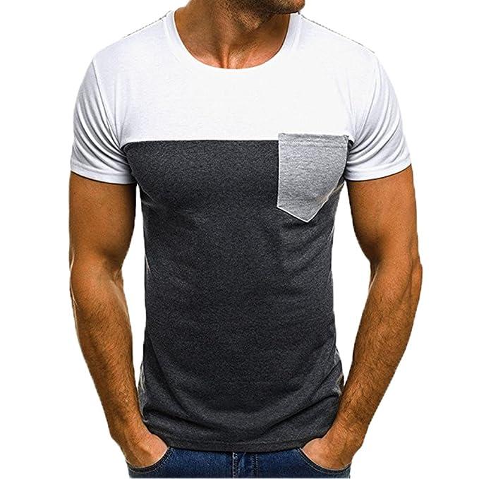 Gusspower Camisetas Hombre Originales Manga Corta Verano Moda Color de Hechizo Bolsillo Polos Personalidad Casual Remera Slim Camisas: Amazon.es: Ropa y ...