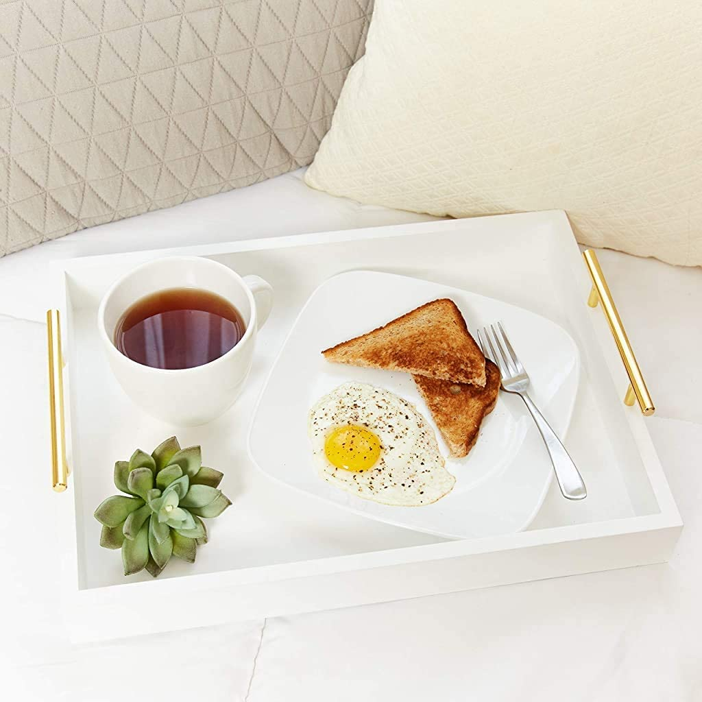 White Decorative Tray - Gold Metal Handles - Smooth Polish - Elegant Serving Tray - Breakfast in Bed- Versatile Kitchen Appliance - Party Platter - Coffee/Tea - Modern Accents - Cocktail Bar