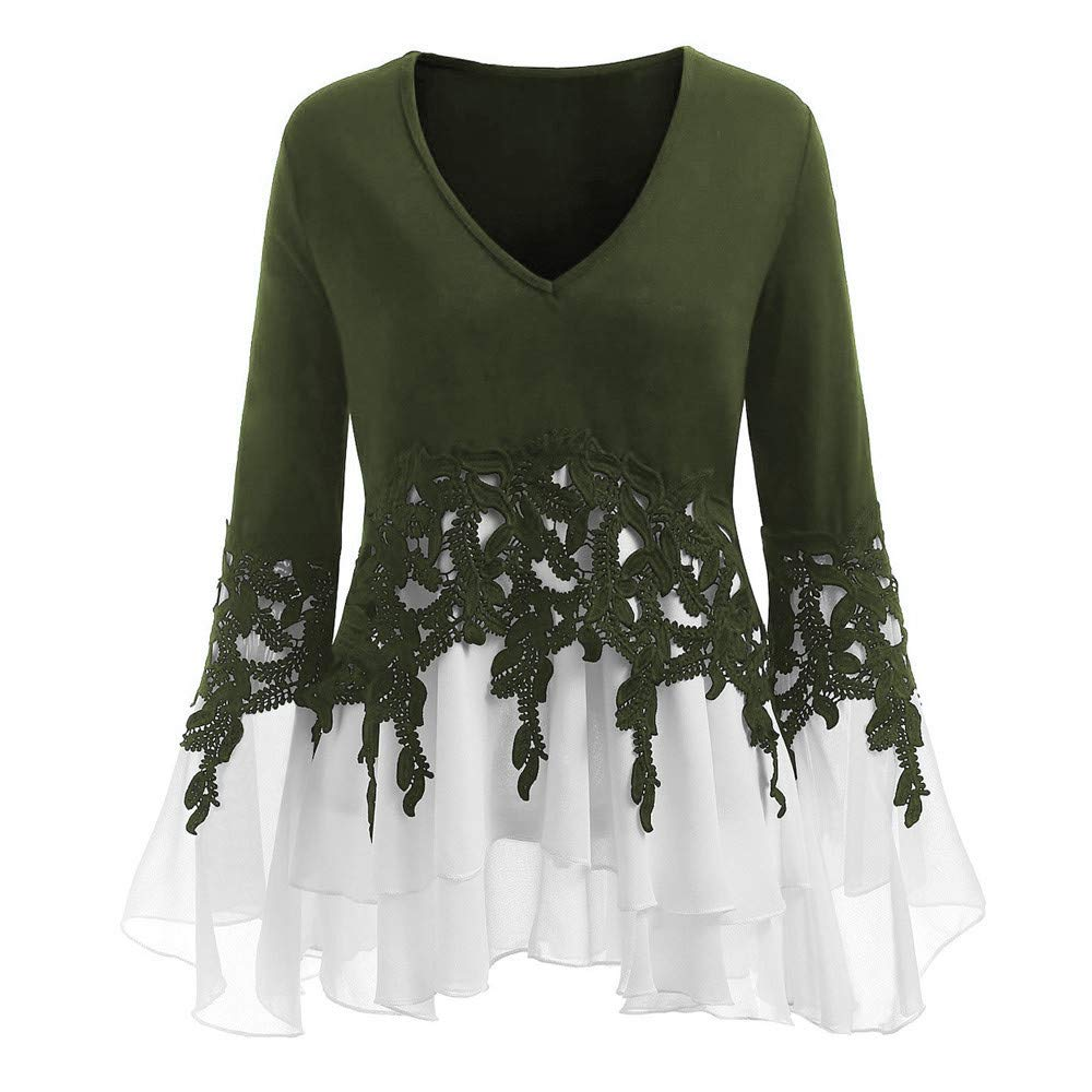 2f080cc7b2b Womens Long Sleeve Plus Size Casual Applique Flowy Chiffon V-Neck Blouse  Tops at Amazon Women's Clothing store: