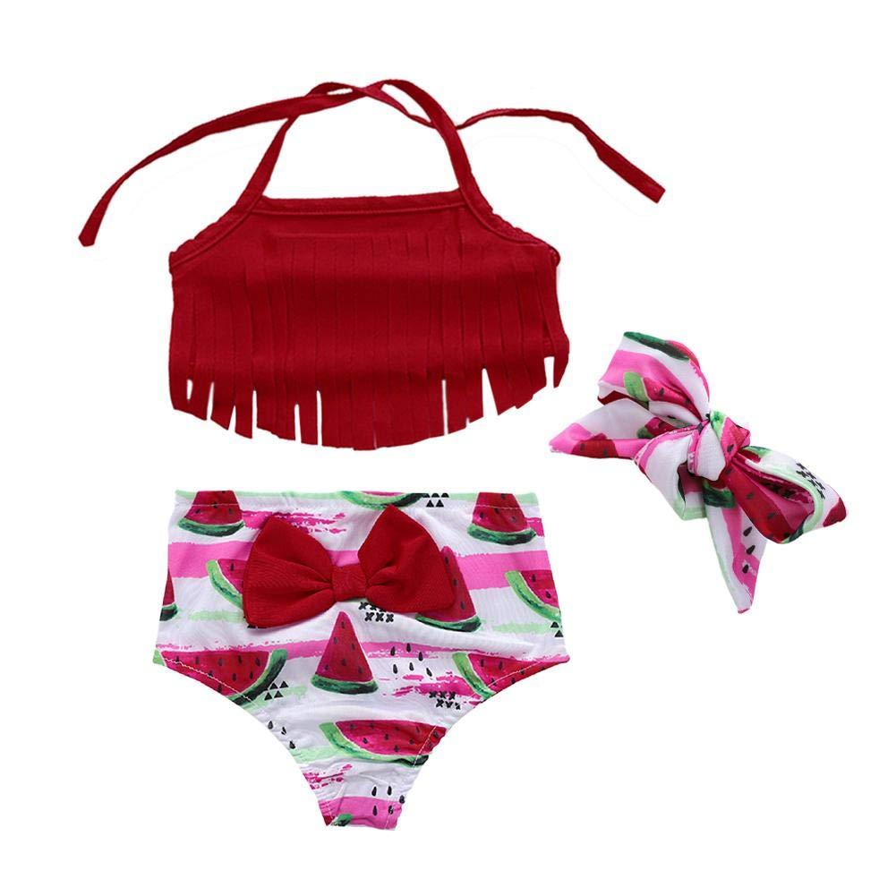 0b8dd2ef34eb7 amazingdeal Summer Watermelon Swimwear Wine Red Kids Girl Tassel Bikini Set  Halter Bathing Suit: Amazon.in: Clothing & Accessories