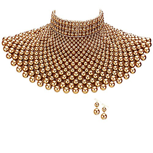 Egyptian Pearl Armor Bib Choker Chain Style Statement Necklace and Pearl Earrings Set (Gold)
