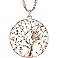 Ouran Lange Halskette für Frauen, Baum des Lebens mit Eule Anhänger Halskette für Mädchen Rose Gold und Silber Halskette mit CZ Crystal Kette Halskette