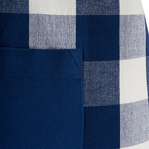 DII Cotton Adjustable Buffalo Check Plaid Apron with Pocket & Extra-Long Ties, 32 x 28, Men and Women Kitchen Apron for Cooking, Baking, Crafting, Gardening, & BBQ - Navy & Cream