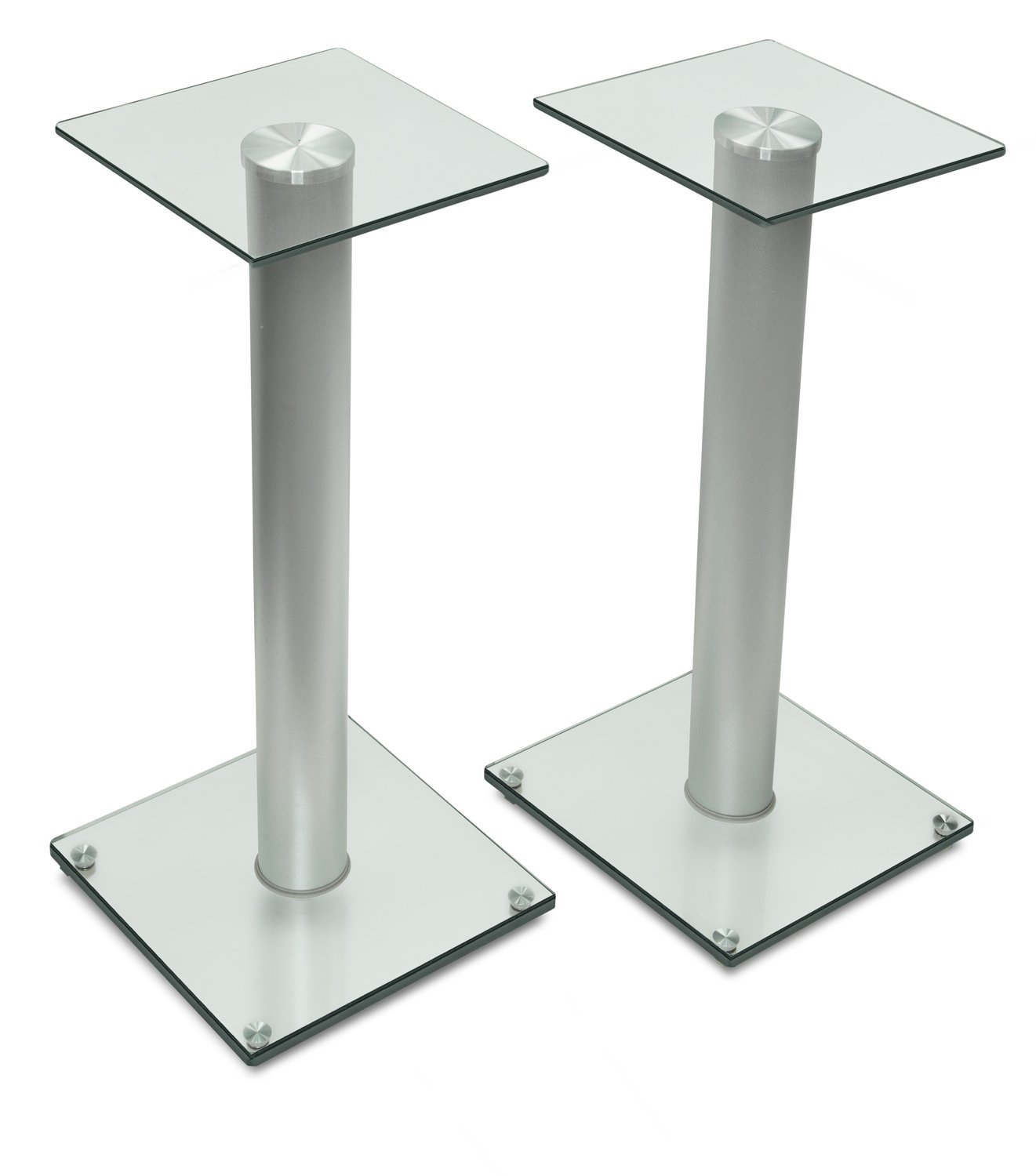 Mount-It! Speaker Stands for Satellite Speakers and Surround Sound Systems, Glass and Aluminum, Silver (MI-58SLVR)