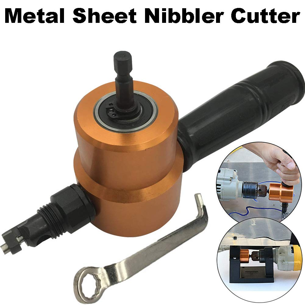 Rojuicy Dual Head sheet metal nibbler, 360 degree adjustable cutting head, Hole Saw Cutter Electric Drill Attachment by Rojuicy