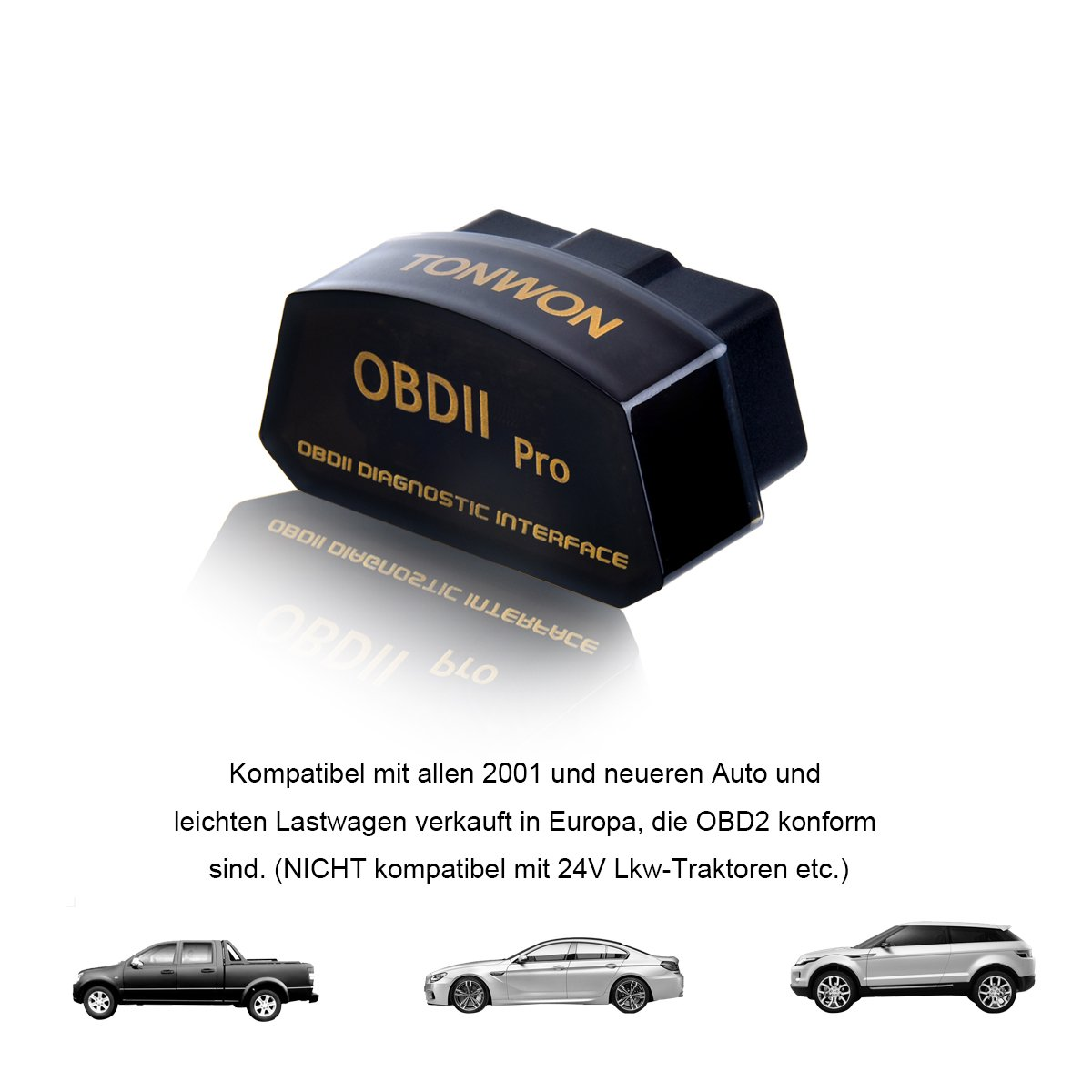 OBD2 Bluetooth Auto Diagnosi Strumento TONWON OBDII ELM327 Adattatore Car Diagnostics Tool per Android