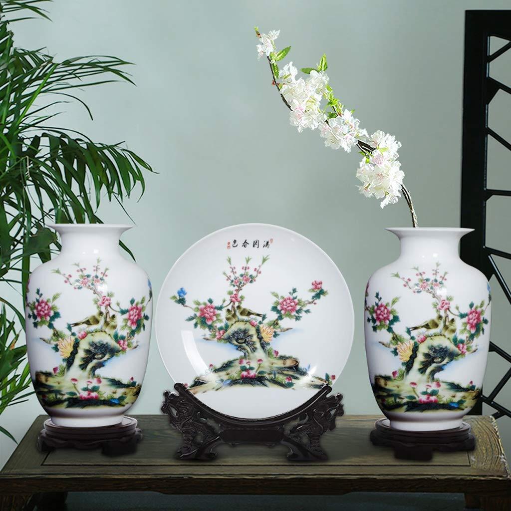 Vasen GAODUZI Keramikvase dreiteilige Kleine Dekoration Chinesisches Zuhause Wohnzimmer TV Schrank Blumenschmuck Dekoration dreiteilige (mit Basis) (Farbe : B)