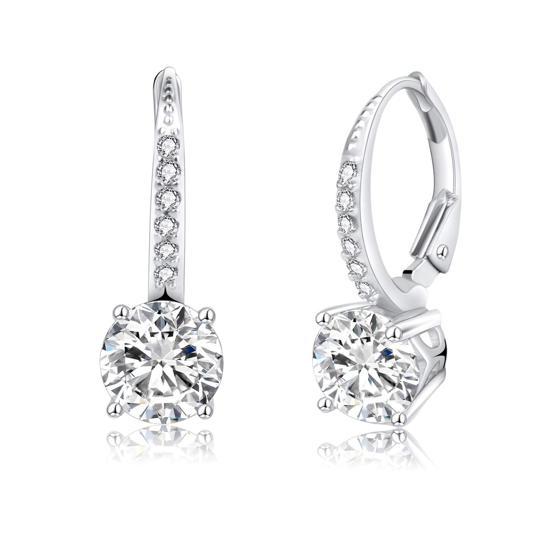d531c28d6 Jane Stone Women s 925 Sterling Silver Leverback Round Halo Earrings ...