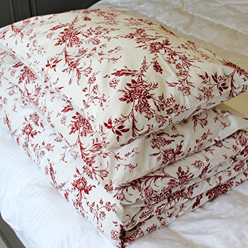French Country 100% Full/queen Cotton Floral Pattern Red White Background Bedding Set with One Duvet Cover and 2 Pillowcases 200 Thread Count Premium Quality (White Red And Bedding)