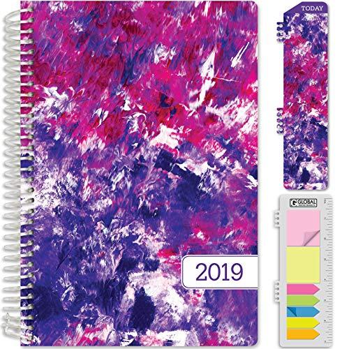 HARDCOVER Calendar Year 2019 Planner: (November 2018 Through December 2019) 5.5x8 Daily Weekly Monthly Planner Yearly Agenda. Bonus Bookmark, Pocket Folder and Sticky Note Set (Purple Art)