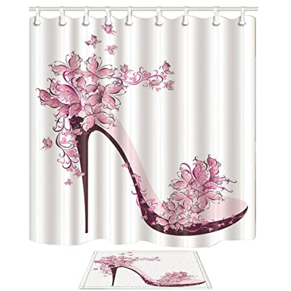 Amazon KOTOM Girly Shower Curtain Pink Butterfly And High