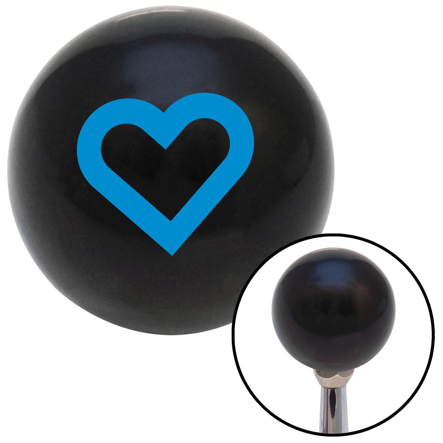 Blue Fat Outlined Heart American Shifter 105329 Black Shift Knob with M16 x 1.5 Insert