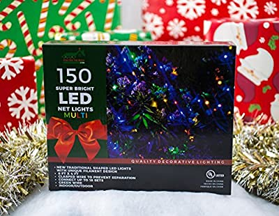 Stay Off the Roof Super Bright LED Christmas Net Lights Set - Multicolored - 150-Piece 6 ft x 4 ft Lighted Length, Connect up to 18 Sets - Holiday Pack