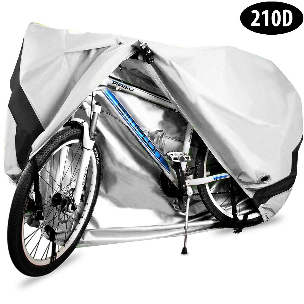 Bike Cover, 210D Heavy Duty Outdoor Waterproof Bicycle Covers UV Dust Sun Wind Proof with Lock Hole Protection for Mountain Road Bikes (Silver) by HCFGS
