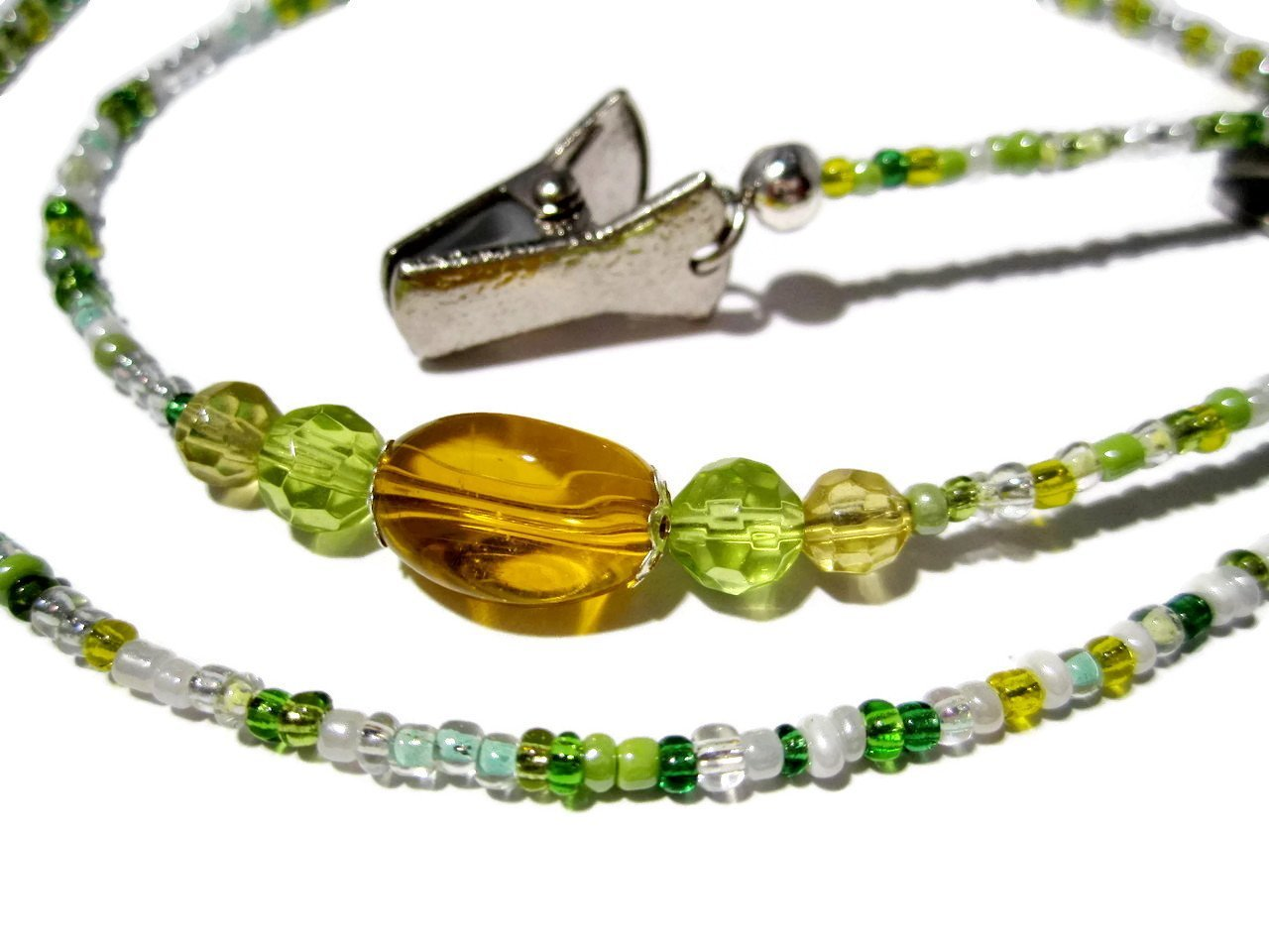 ATLanyards Yellow and Green Eyeglass Holder - Beaded Eyeglass Chain With Clips by ATLanyards