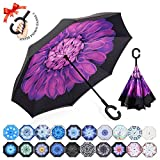 : ZOMAKE Double Layer Inverted Umbrella Cars Reverse Umbrella, UV Protection Windproof Large Straight Umbrella for Car Rain Outdoor With C-Shaped Handle(violets)