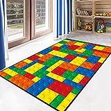 Ukeler School Classroom Playtime Learning Carpet Toy Brick Printed Educational Area Rug Mat Kids Play/Crawling, 3'.9 x 5'.2