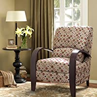 Mid Century Retro Circle Print Tan Upholstered Recliner Chair with Curved Bent Arm - Includes ModHaus Living Pen