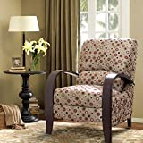 ModHaus Living Mid Century Retro Circle Print Tan Reclining Upholstered Chair with Curved Bent Arm – Includes Pen Review