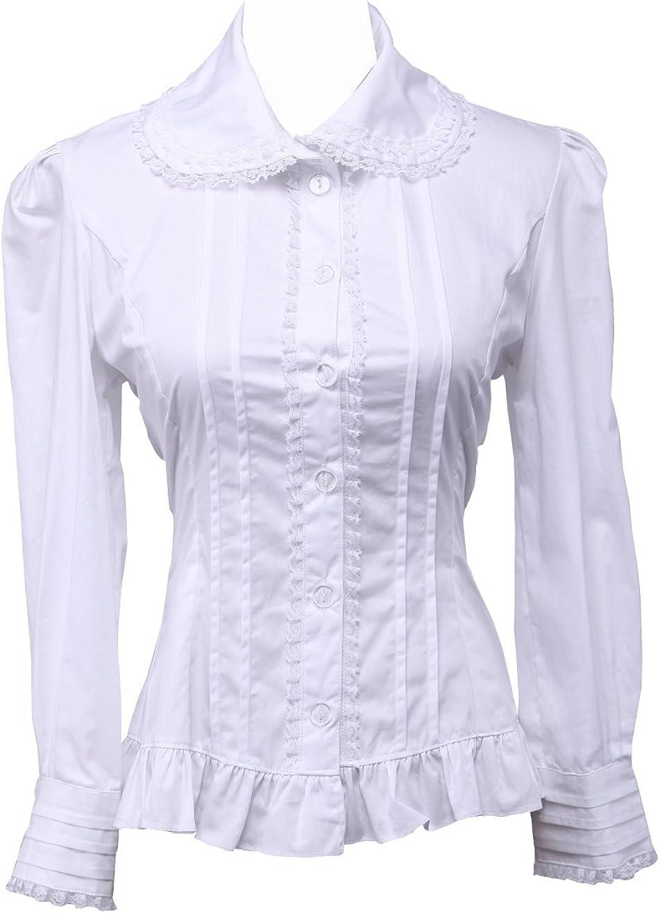 Women/'s ML Top Vintage Cotton Ruffle Top