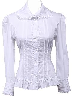 d06da1540e339c Antaina Weiß Baumwolle Spitze Rüsche Jahrgang Viktorianisch Lolita  Beiläufig Hemd Bluse,MEHRWEG