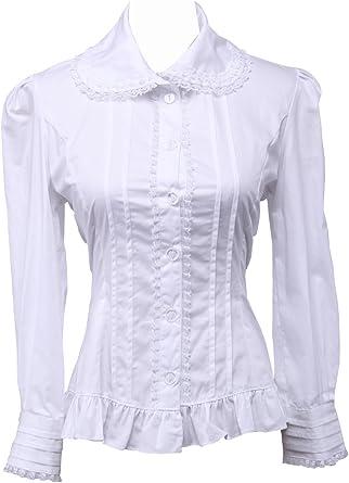 Blanca Algodón Encaje Volantes Vintage Victoriana Lolita Casual Camisa Blusa de Mujer: Amazon.es: Ropa y accesorios