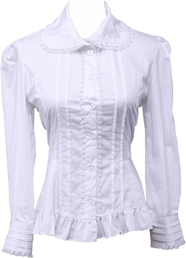 Blanca Algodón Encaje Volantes Vintage Victoriana Lolita Casual Camisa Blusa de Mujer