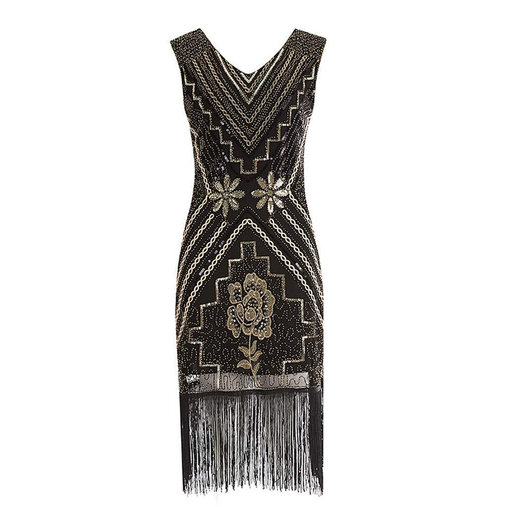 Jaysis Damen Vintage ärmelloses Print Lässige Abendgesellschaft Prom Swing Dressv-Ausschnitt Faltenrock beiläufiges Strandkleid Sommerkleid Tank ausgestelltes trägerkleid Knielang