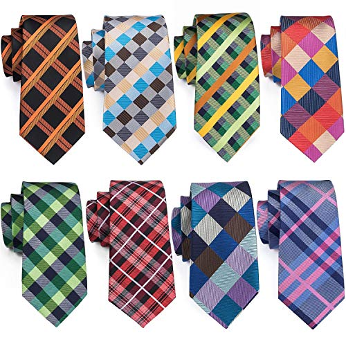 - Silk Plaid Ties Set Stripe Designer Men Necktie Formal Wedding Party Fashion