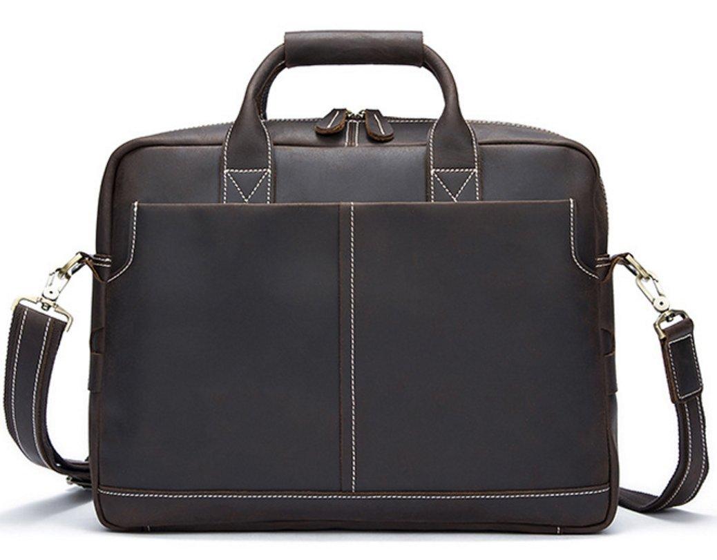 Classic Design Men's Crazy Genuine Leather Business Bag Work Bag Laptop Briefcase Messenger Bag Shoulder Bag Fit 15'' Laptop (deep coffee)